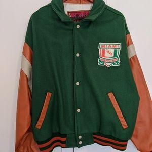 Vintage Miami Hurricanes Varsity Leather Jacket